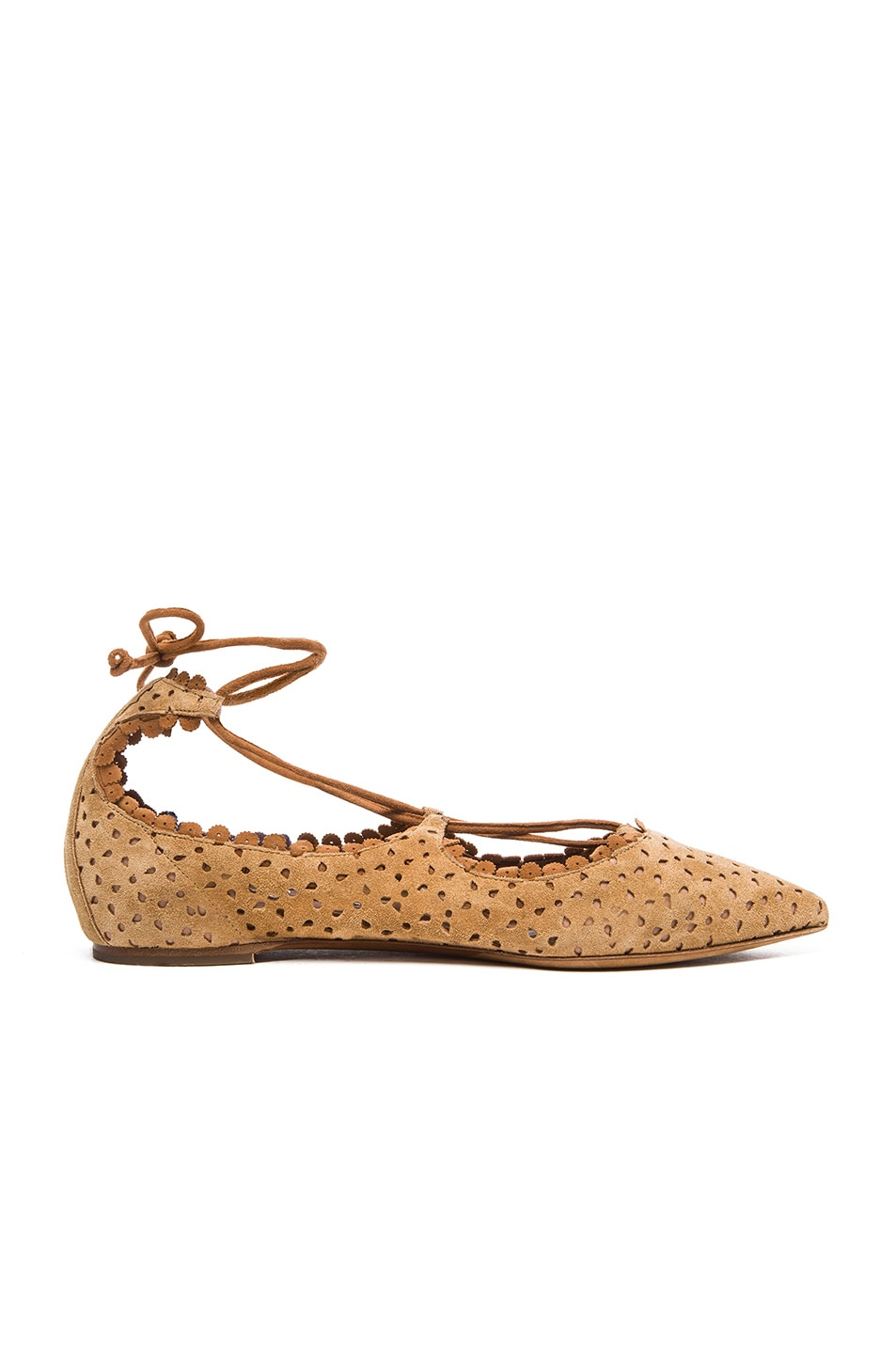 Image 1 of Tabitha Simmons Suede Willa Flats in Camel