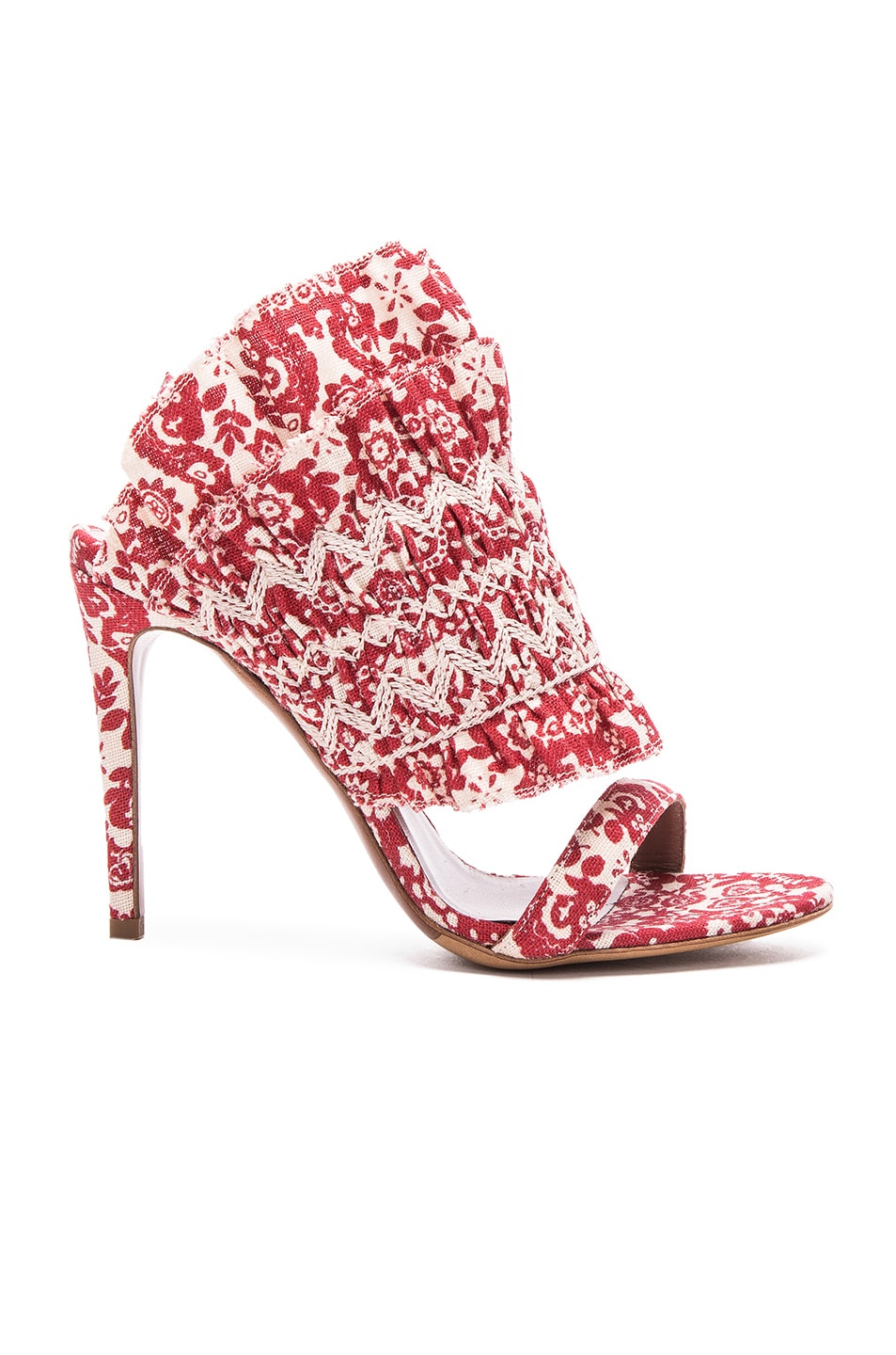 Image 1 of Tabitha Simmons Flouncy Linen Heels in Red & Ecru