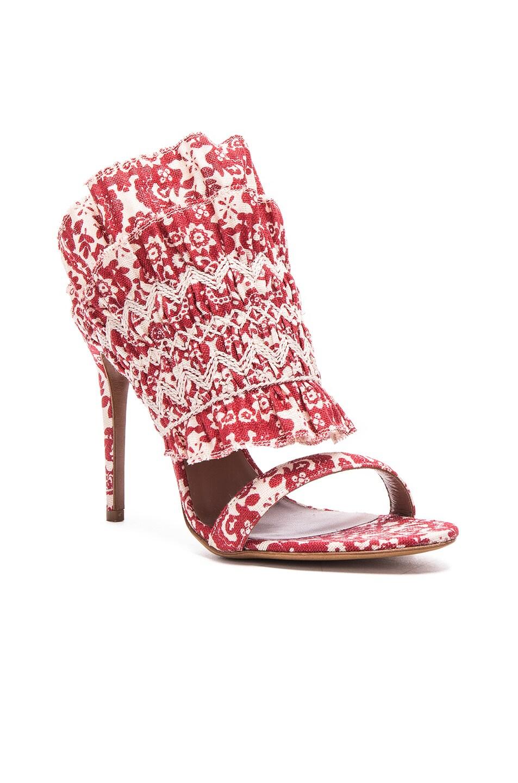 Image 2 of Tabitha Simmons Flouncy Linen Heels in Red & Ecru