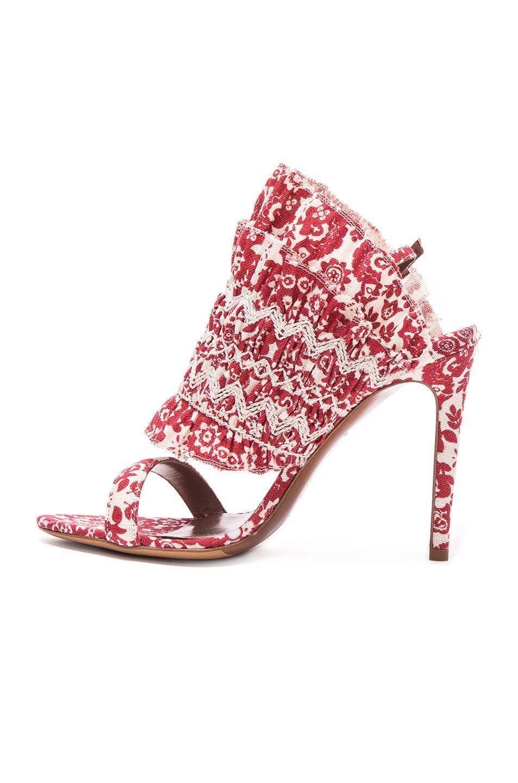 Image 5 of Tabitha Simmons Flouncy Linen Heels in Red & Ecru