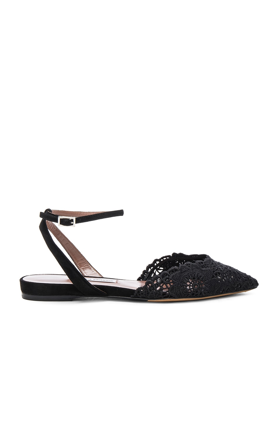 Image 1 of Tabitha Simmons Vera Crochet Flats in Black Crochet & Suede