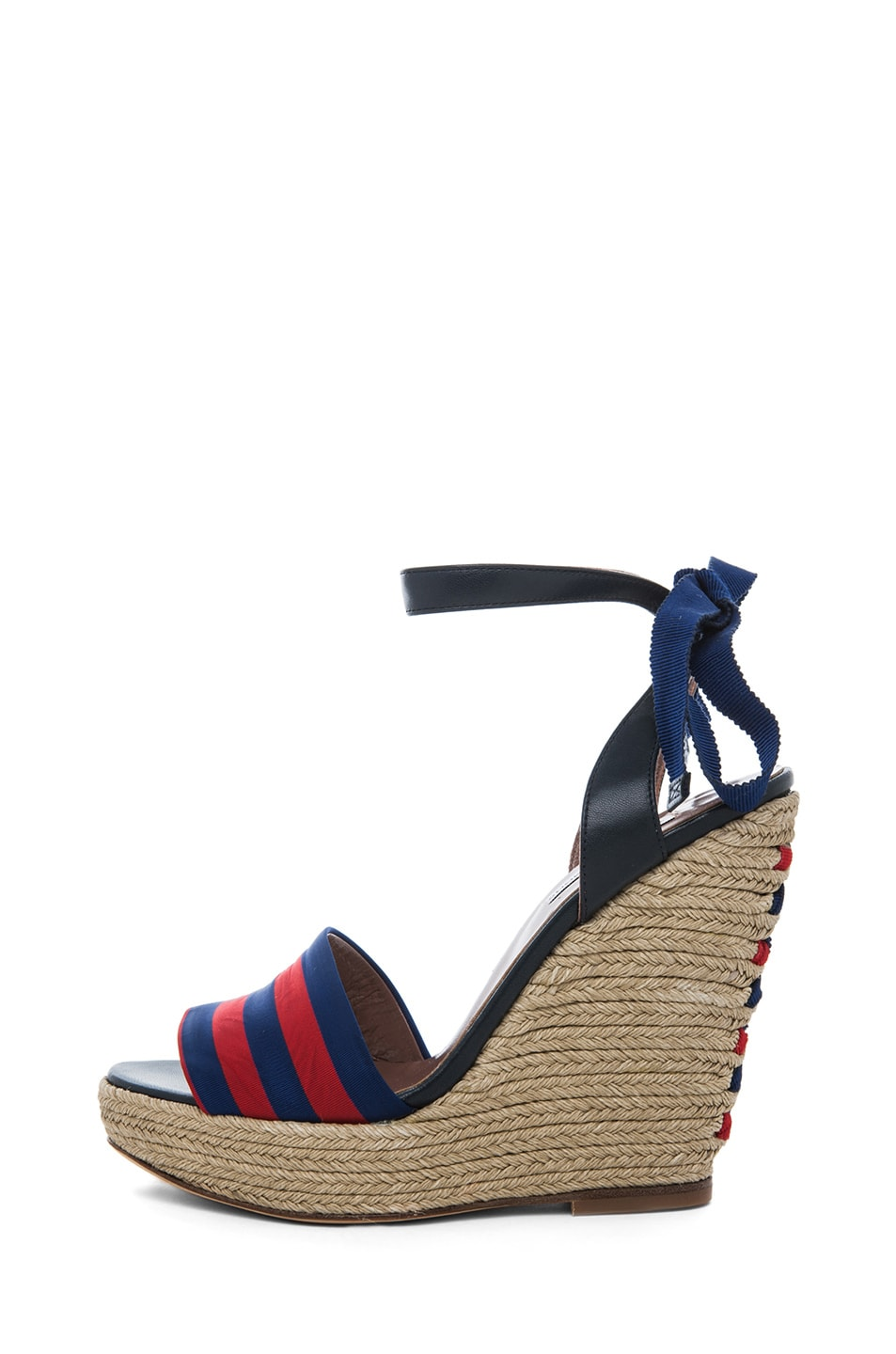 Image 1 of Tabitha Simmons Alice Leather & Grosgrain Wrap Around Wedges in Red & Navy