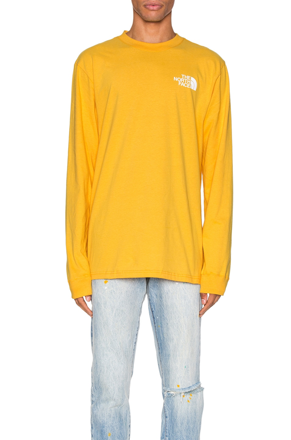 Image 2 of The North Face Long Sleeve Red Box Tee in TNF Yellow