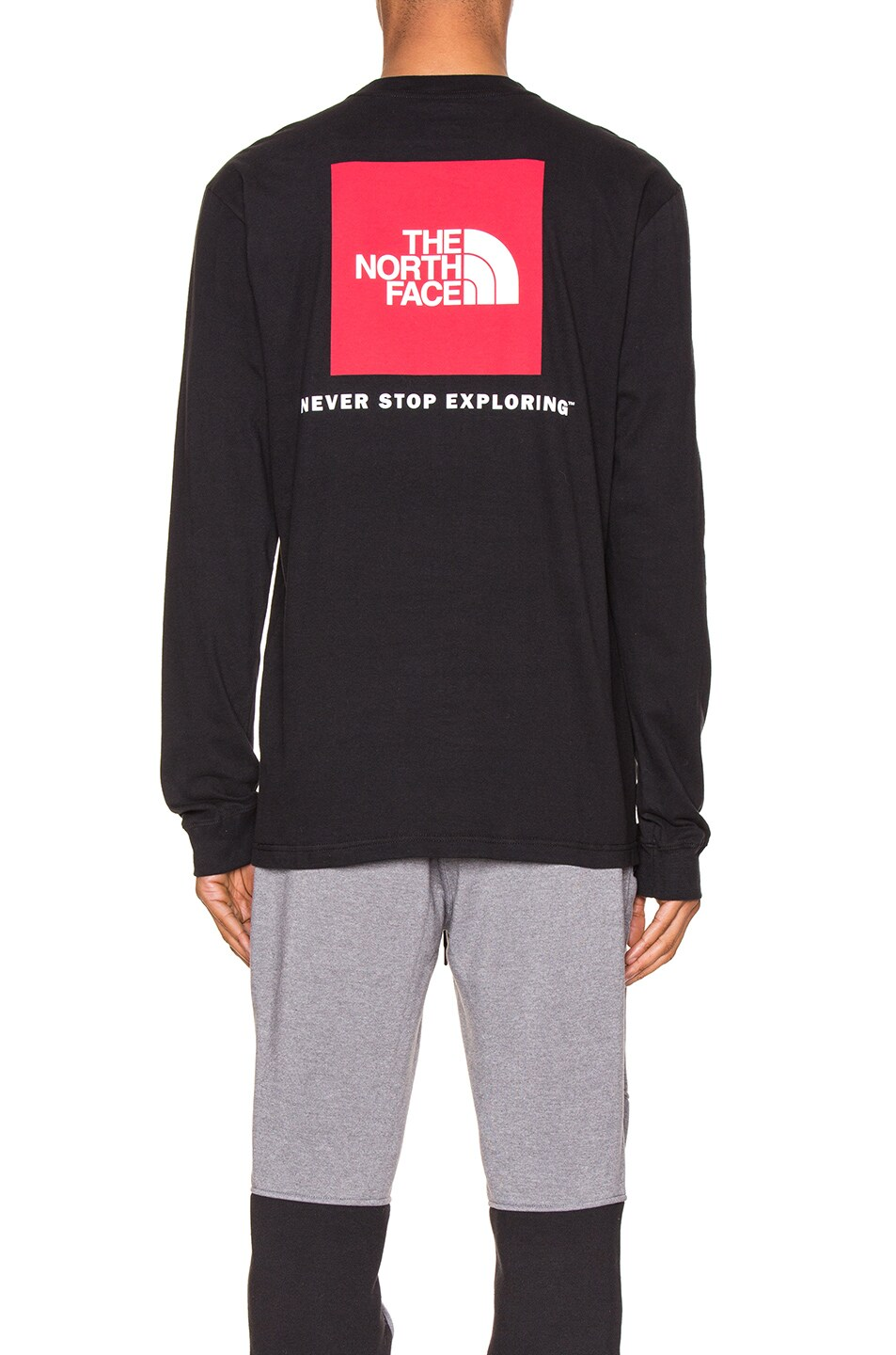 Image 4 of The North Face Long Sleeve Red Box Tee in TNF Black