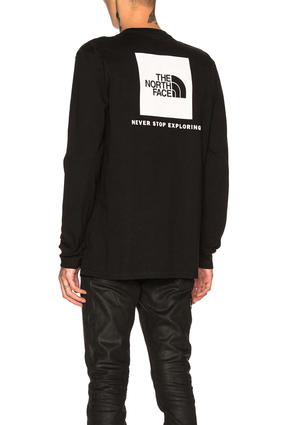 8e3665561 The North Face Long Sleeve Red Box Tee in TNF Black   FWRD