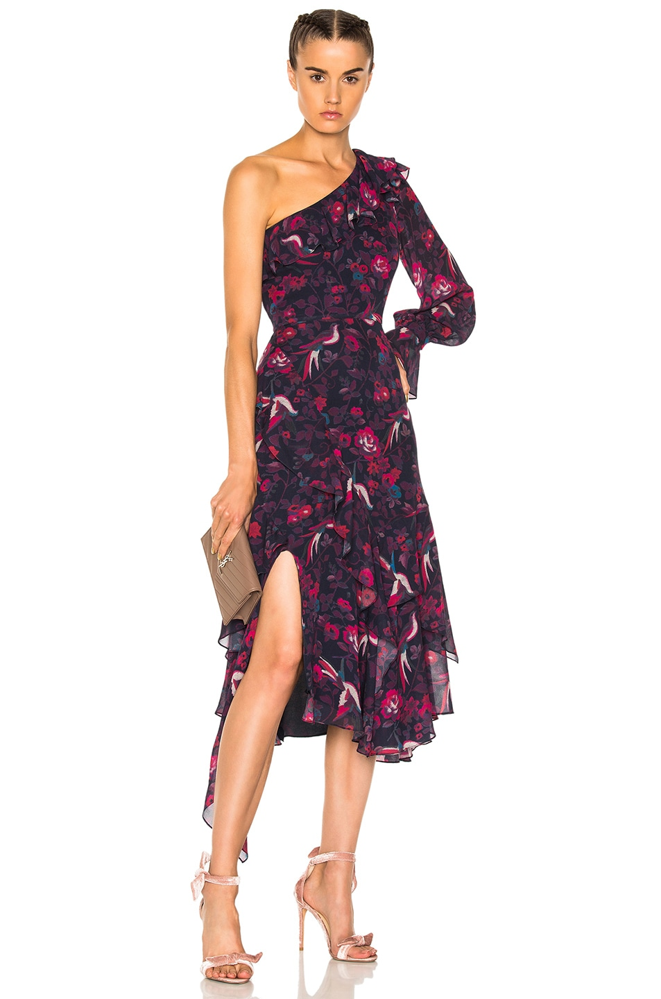 Tanya Taylor Isua Dress in Floral,Red
