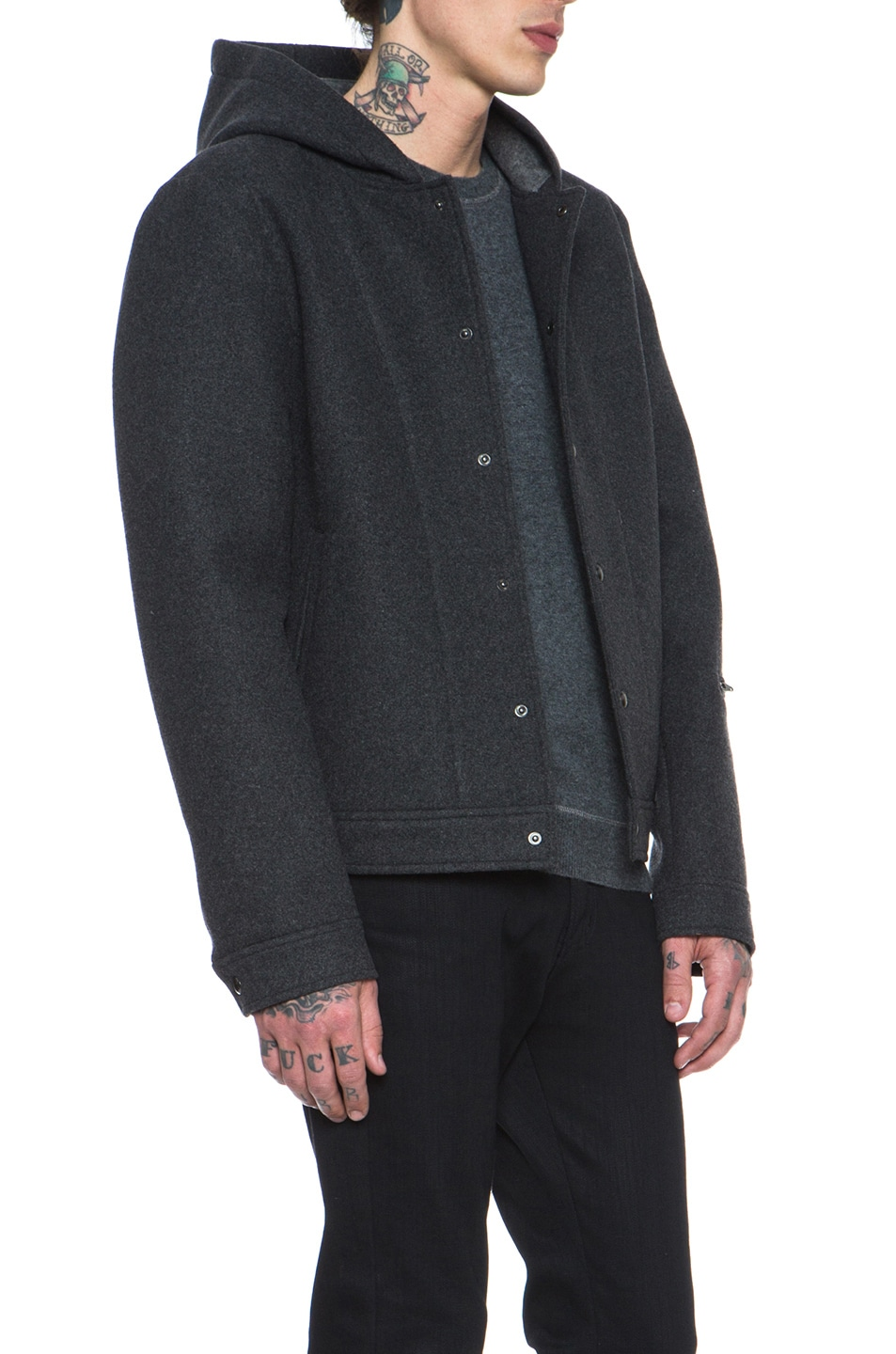 b72fc5d2d8374 Image 4 of T by Alexander Wang Wool Bonded Neoprene Jacket in Charcoal