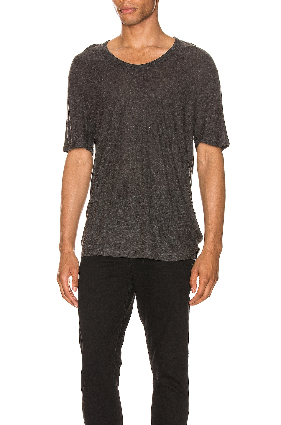 Image 1 of T by Alexander Wang Low Neck Tee in Charcoal