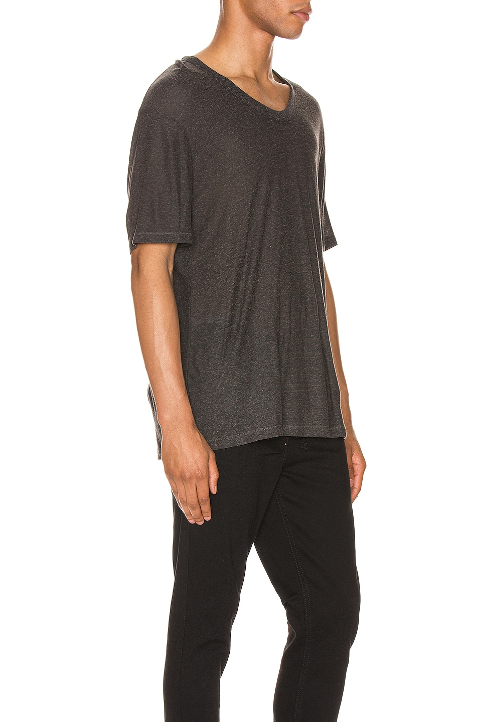 Image 2 of T by Alexander Wang Low Neck Tee in Charcoal