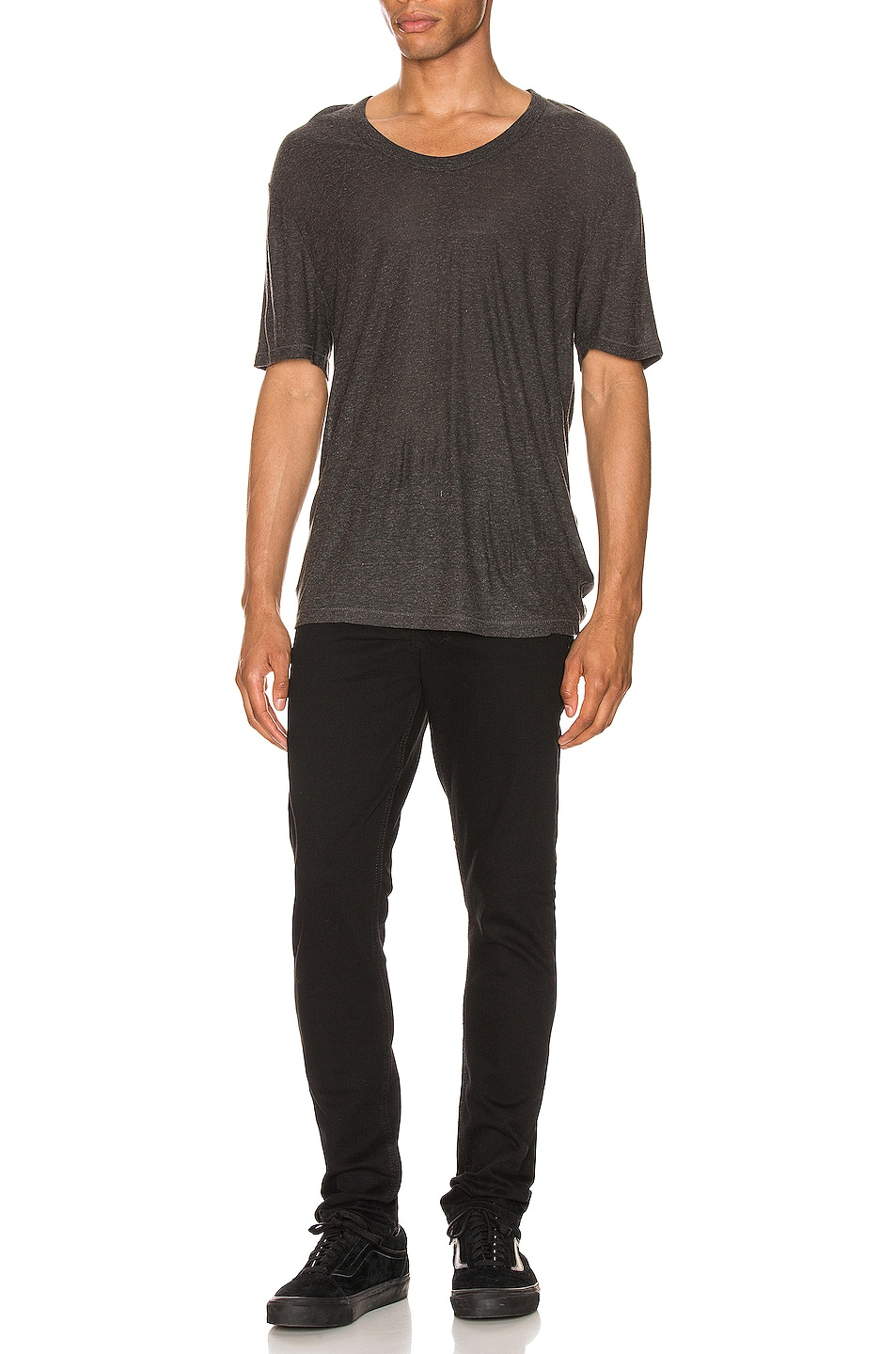 Image 4 of T by Alexander Wang Low Neck Tee in Charcoal
