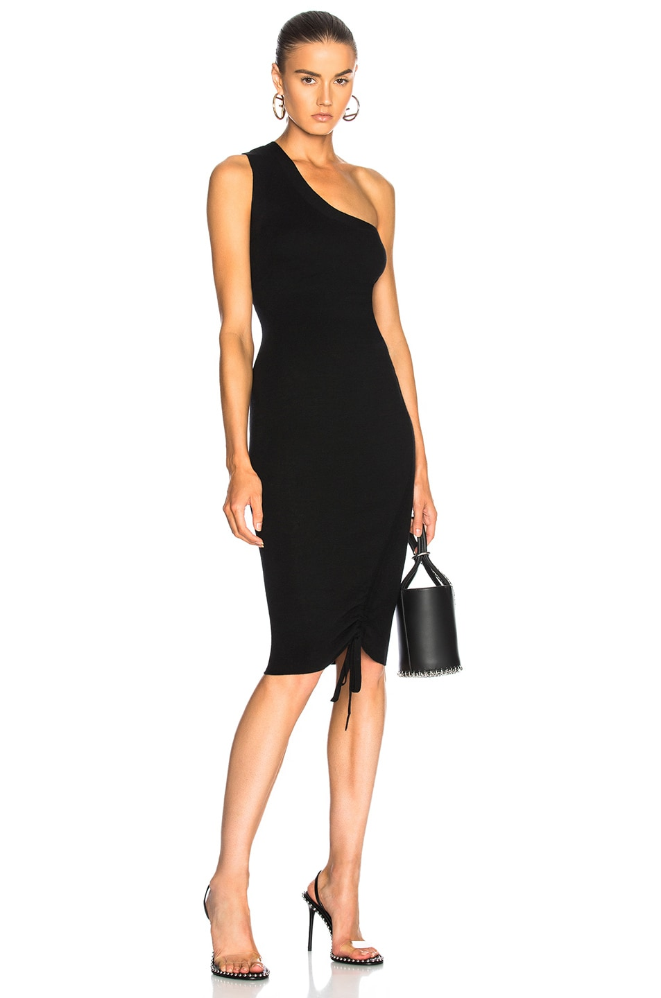 Image 1 of T by Alexander Wang Ruched One Shoulder Dress in Black