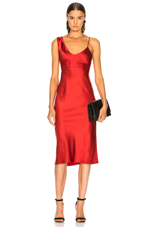 Twist Shoulder Midi Slip Dress in Red Alexander Wang j0aC6qG