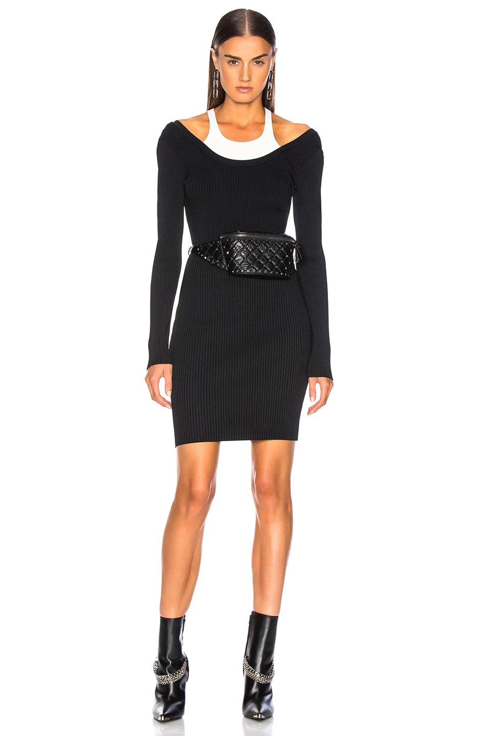 Image 1 of T by Alexander Wang Bodycon Bi Layer Mini Dress in Black & White