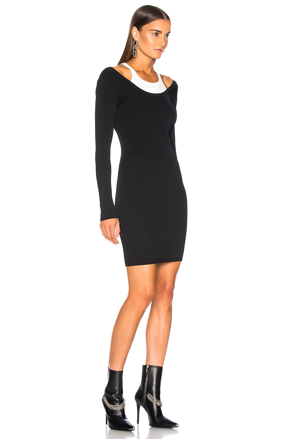 Image 2 of T by Alexander Wang Bodycon Bi Layer Mini Dress in Black & White
