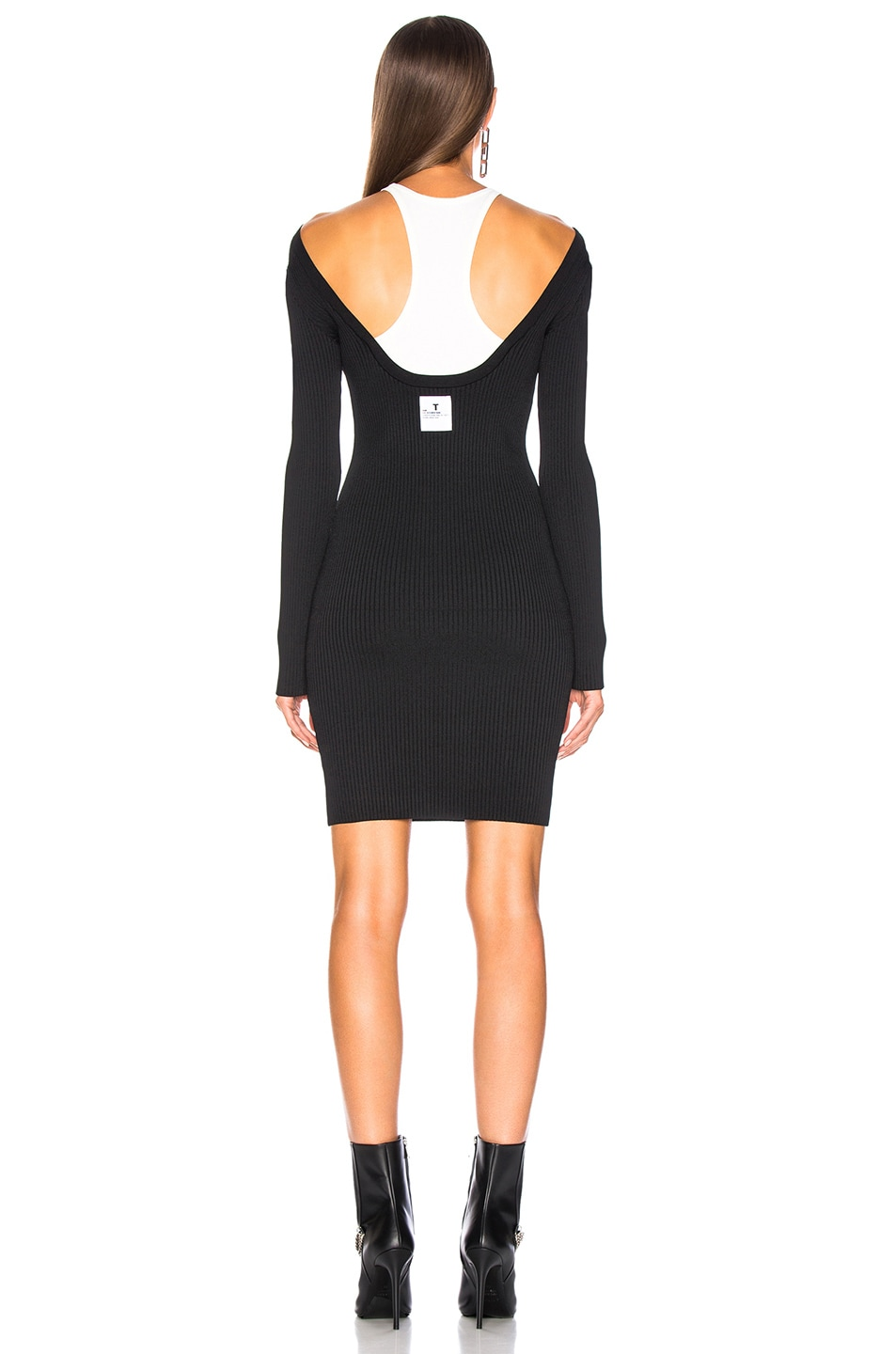 Image 3 of T by Alexander Wang Bodycon Bi Layer Mini Dress in Black & White