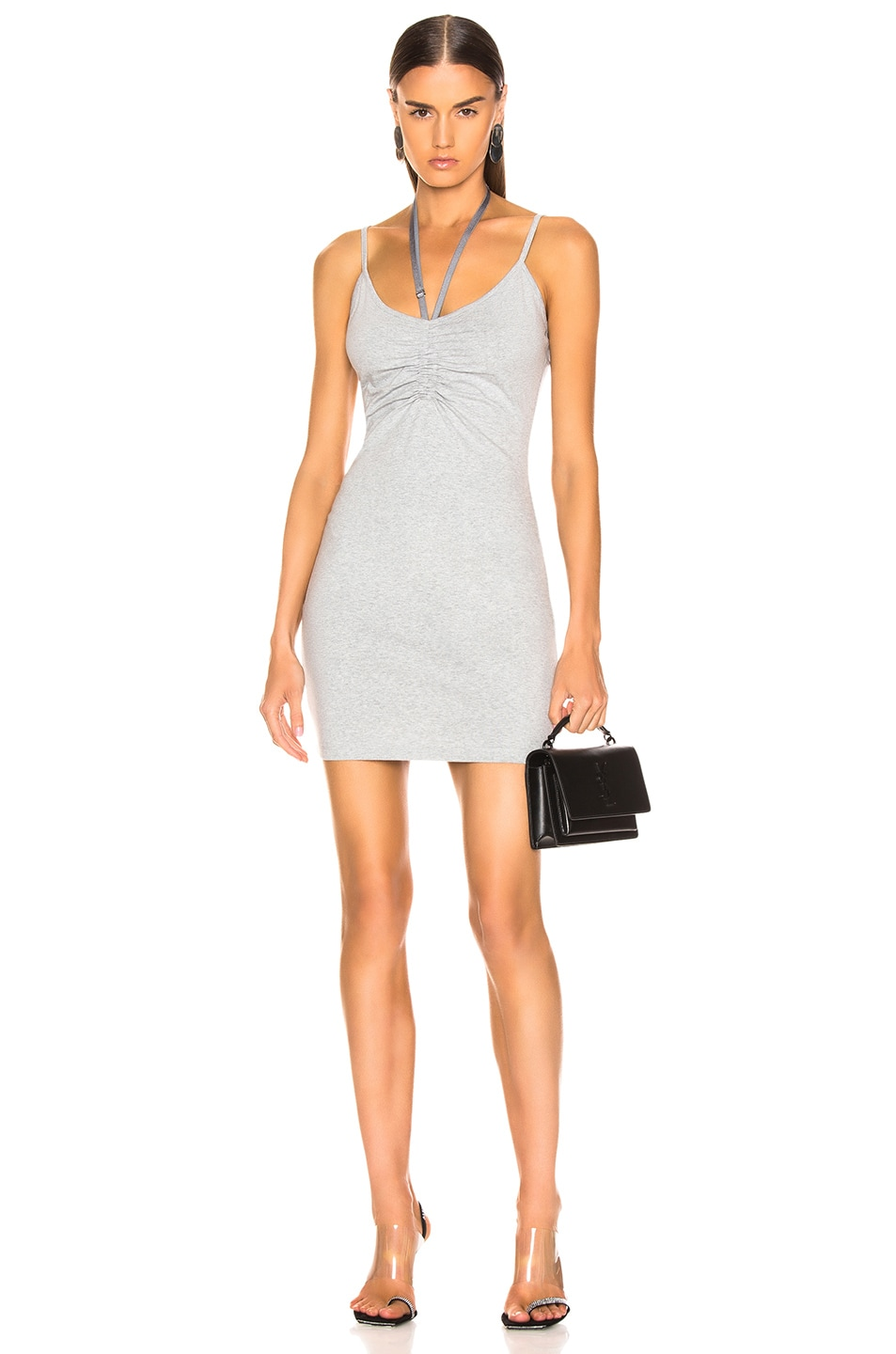 Image 1 of T by Alexander Wang Compact Ruched Dress in Heather Grey