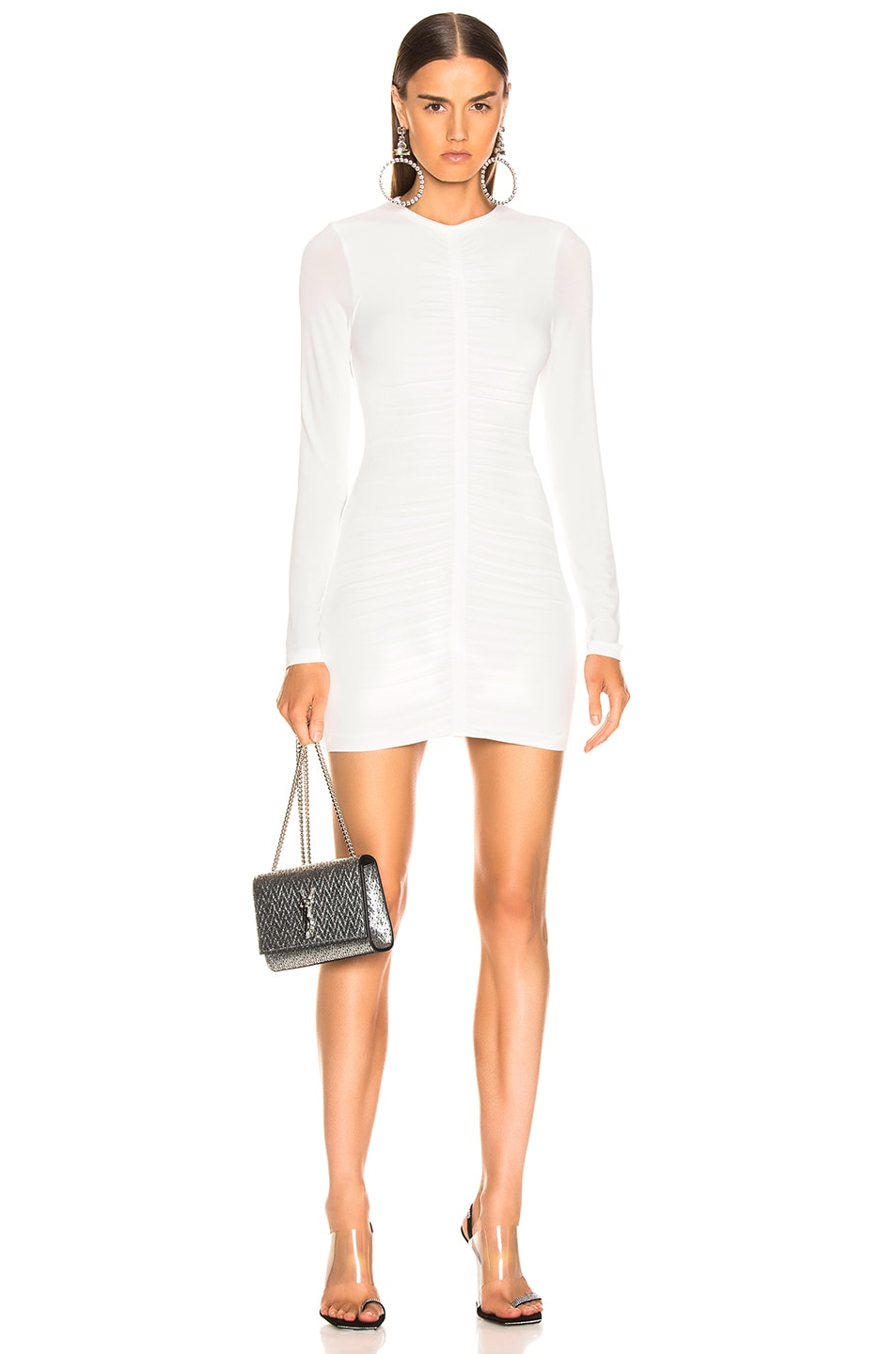 Image 1 of T by Alexander Wang Crepe Long Sleeve Dress in Ivory