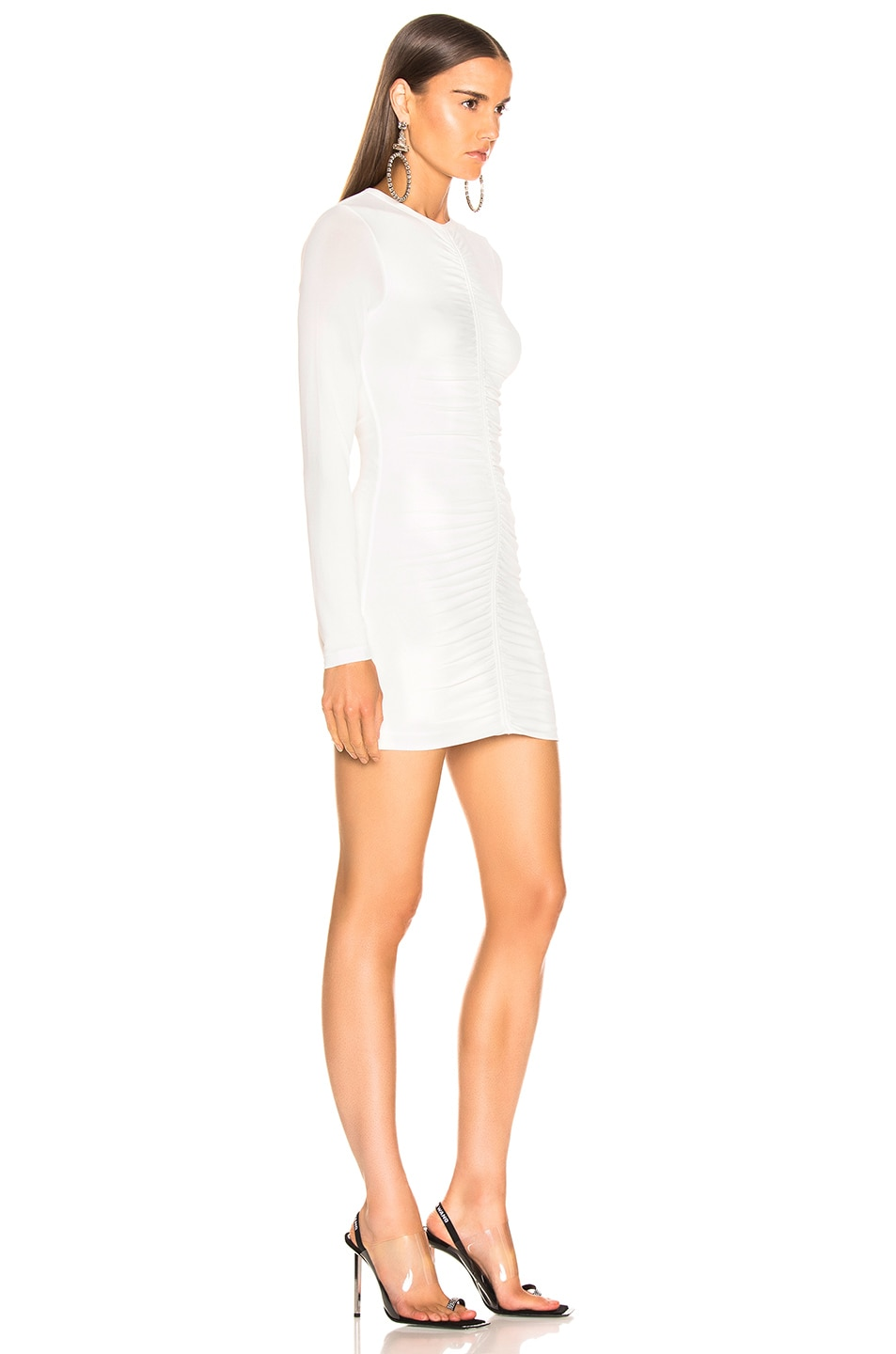 Image 2 of T by Alexander Wang Crepe Long Sleeve Dress in Ivory