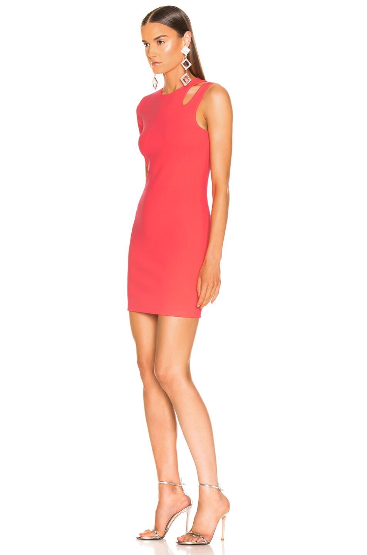 Image 3 of T by Alexander Wang Sleek Rib Asymmetric Dress in Hot Pink