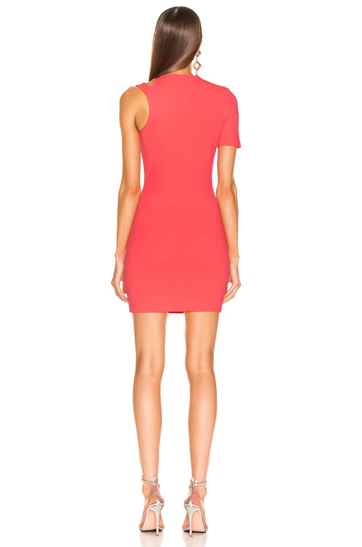 Image 4 of T by Alexander Wang Sleek Rib Asymmetric Dress in Hot Pink