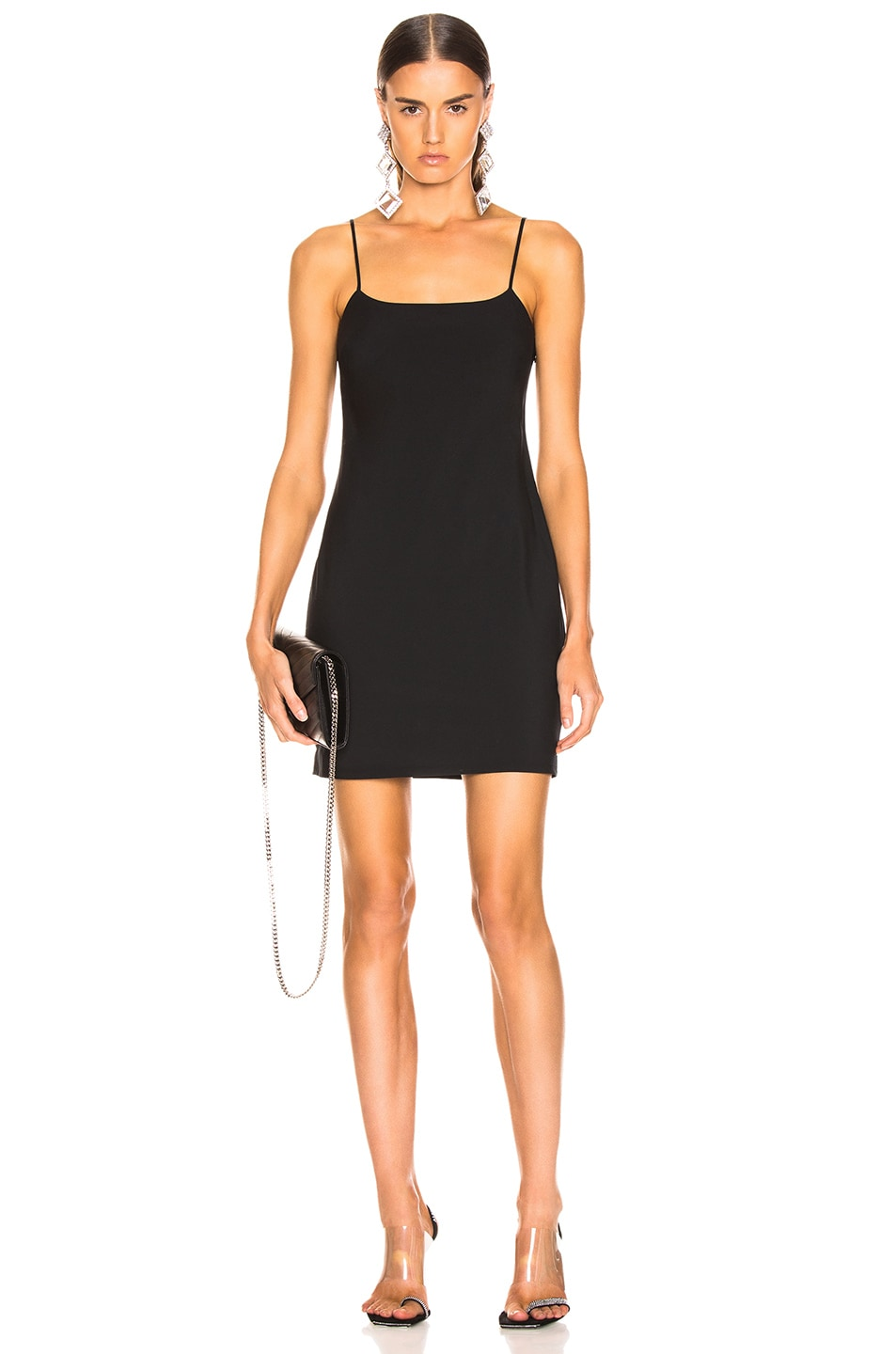 Image 1 of T by Alexander Wang Washable Wool Mini Dress in Black