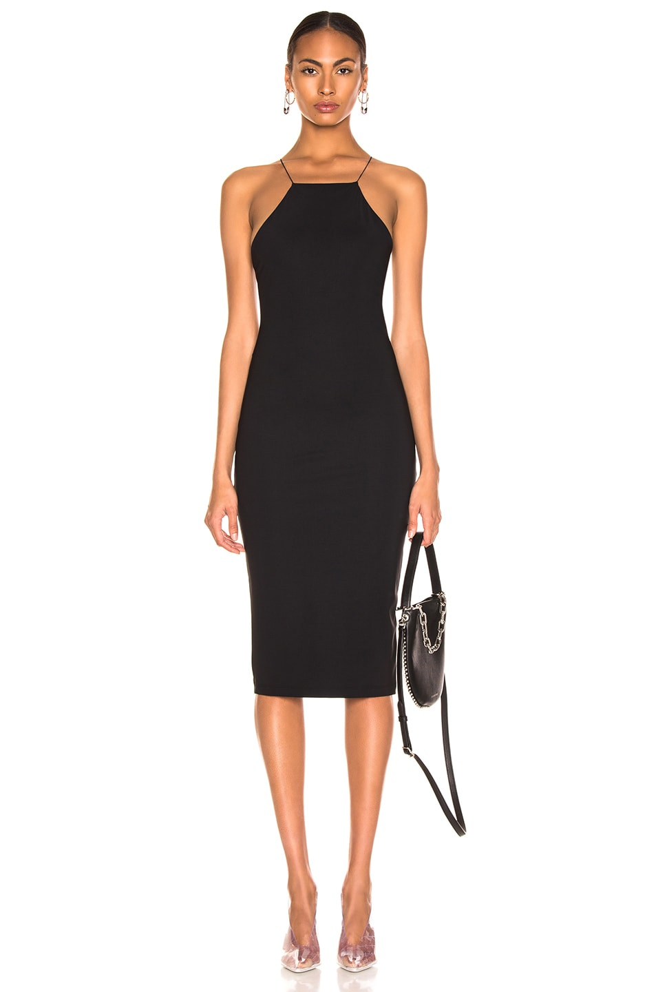 Image 1 of T by Alexander Wang Criss Cross Back Strap Dress in Black