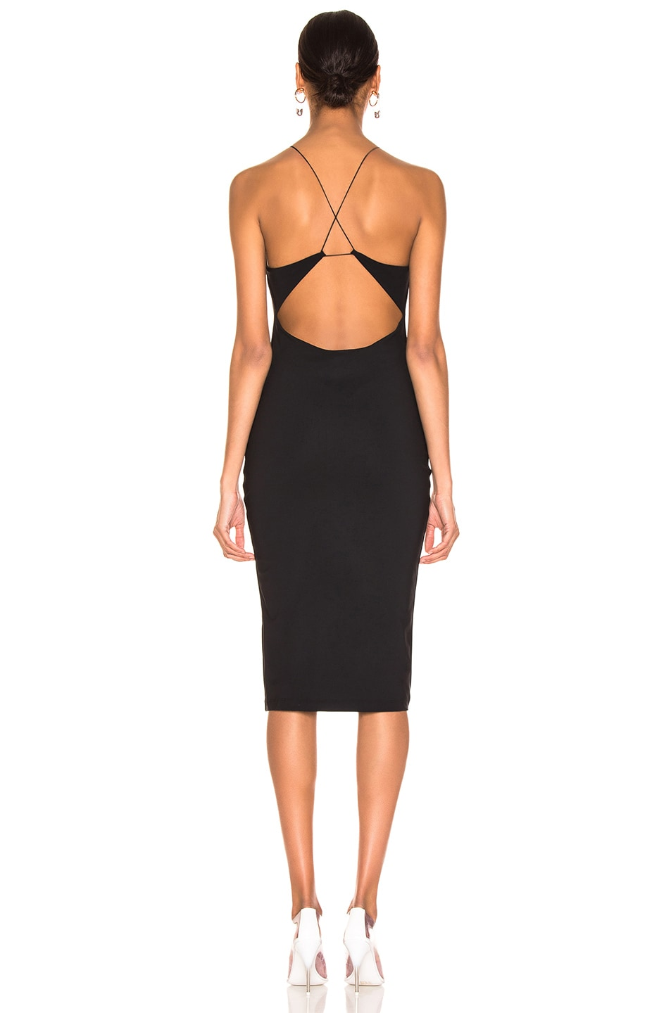 Image 3 of T by Alexander Wang Criss Cross Back Strap Dress in Black