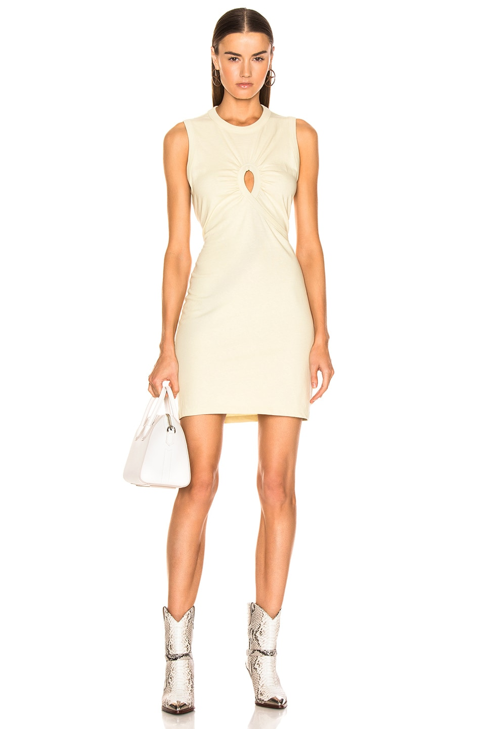 Image 1 of T by Alexander Wang Keyhole Twist Dress in Lime
