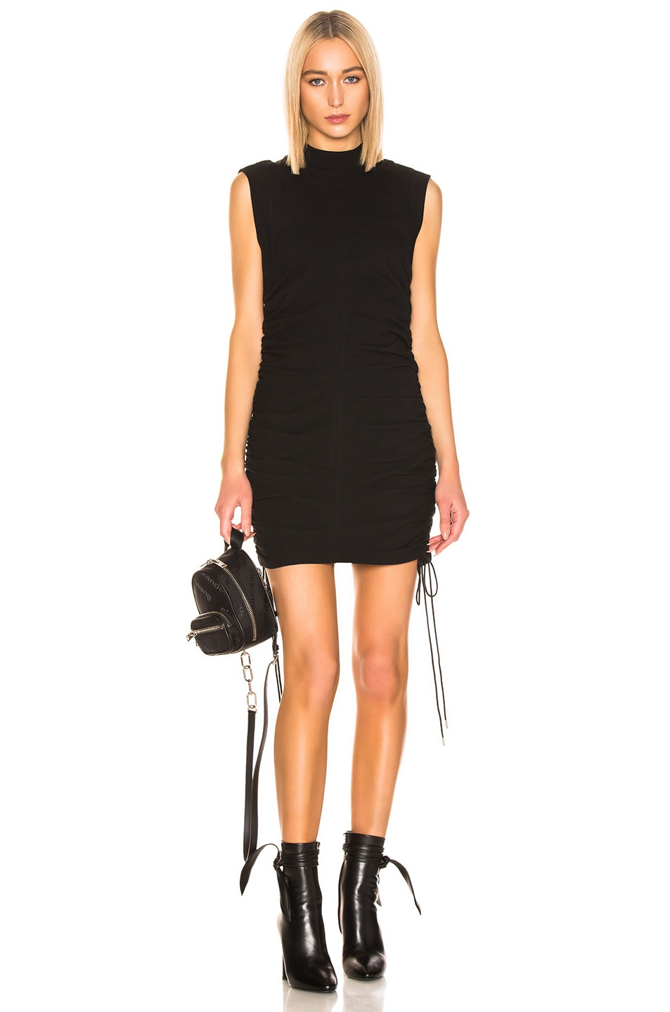 Image 1 of T by Alexander Wang High Twist Ruched Dress in Black