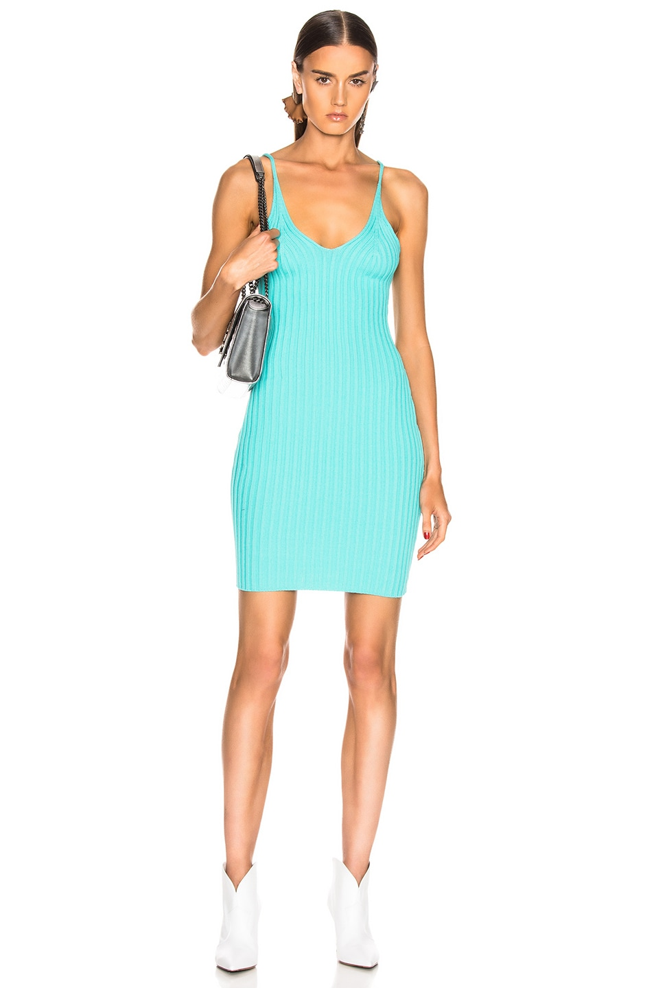 Image 1 of T by Alexander Wang Shrunken Rib Fitted Tank Dress in Aqua