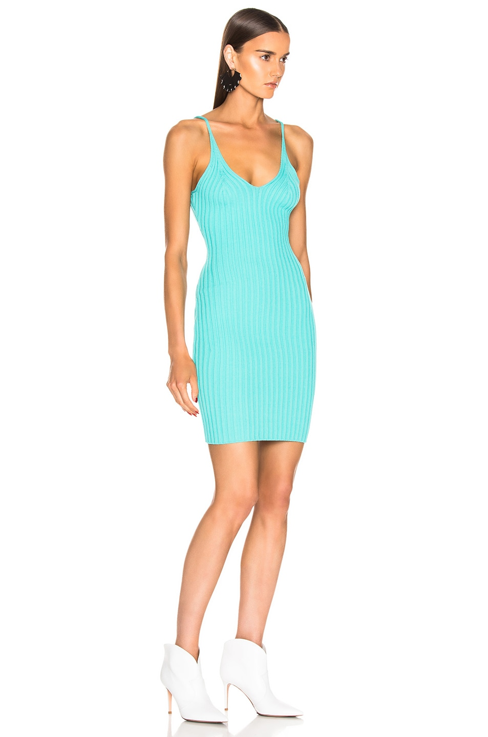 Image 2 of T by Alexander Wang Shrunken Rib Fitted Tank Dress in Aqua
