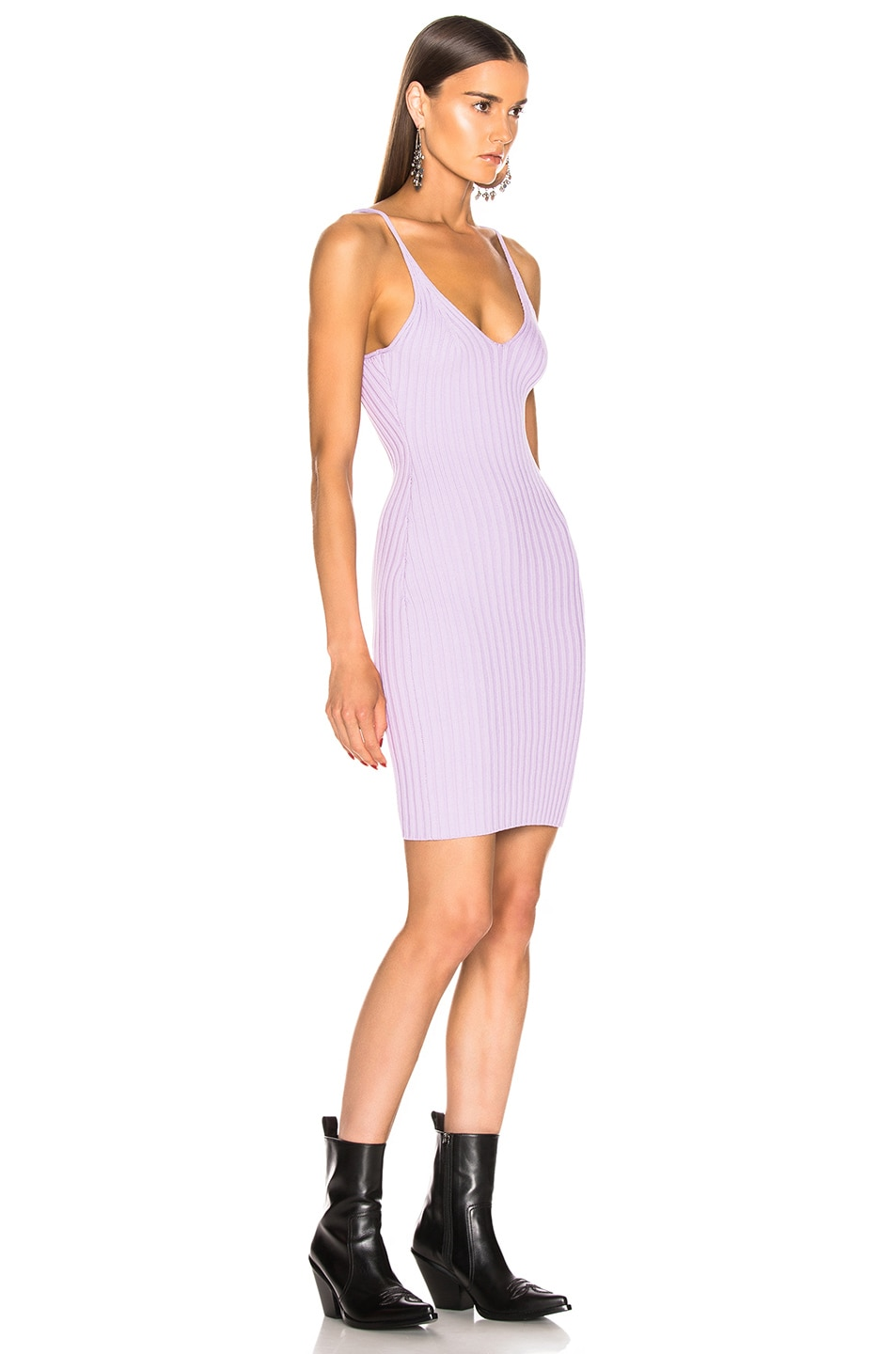 Image 2 of T by Alexander Wang Shrunken Rib Fitted Tank Dress in Lavender