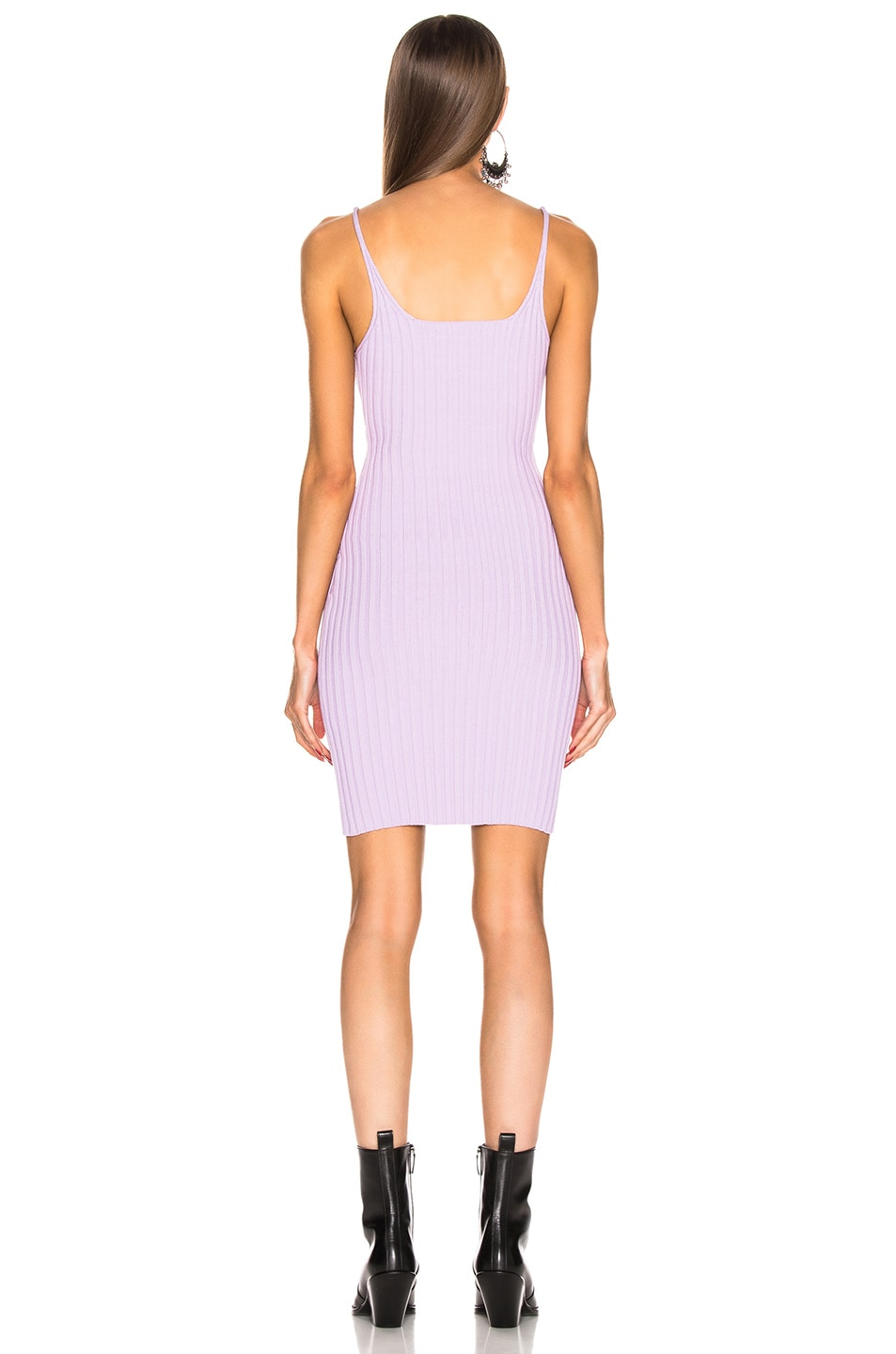 Image 3 of T by Alexander Wang Shrunken Rib Fitted Tank Dress in Lavender