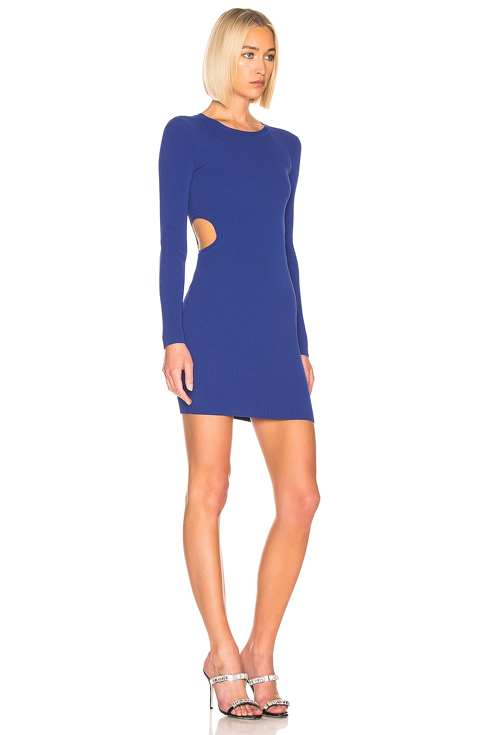 Image 3 of T by Alexander Wang Bodycon Long Sleeve Dress in Blue