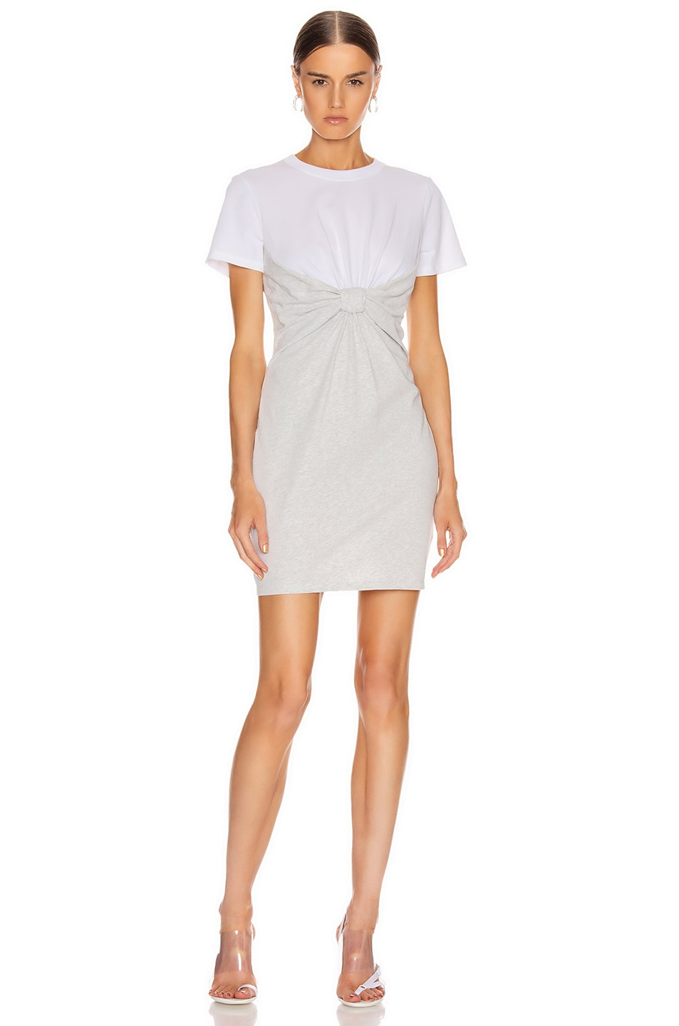 Image 1 of T by Alexander Wang High Twist Knot Dress in White & Light Heather Grey