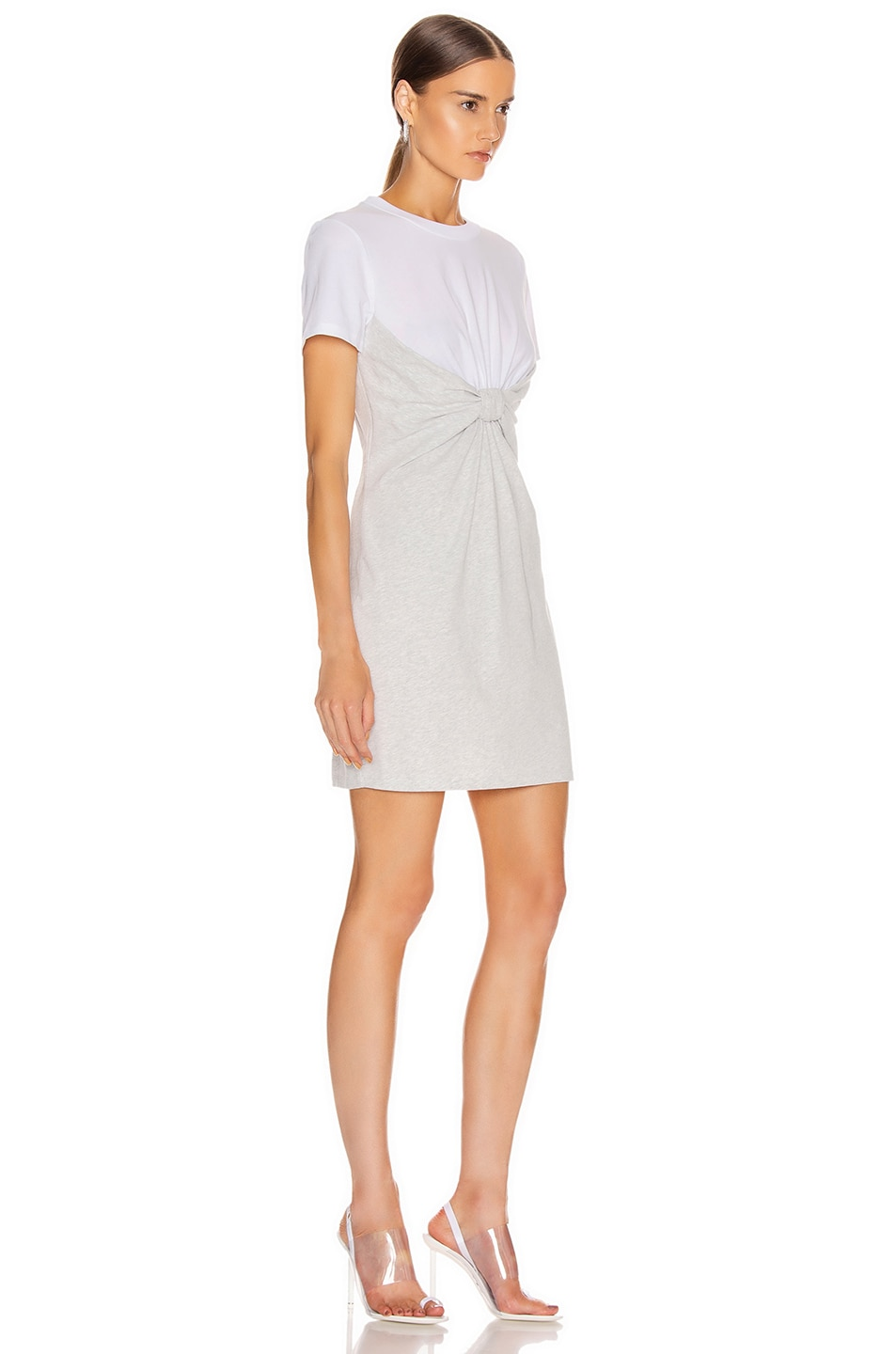 Image 2 of T by Alexander Wang High Twist Knot Dress in White & Light Heather Grey