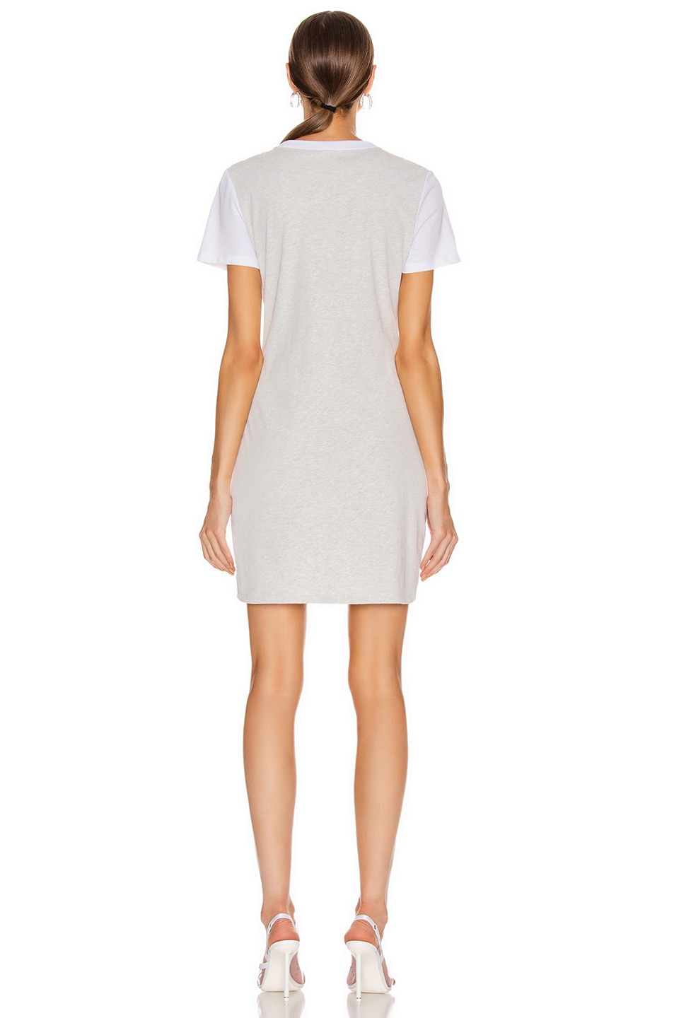 Image 3 of T by Alexander Wang High Twist Knot Dress in White & Light Heather Grey