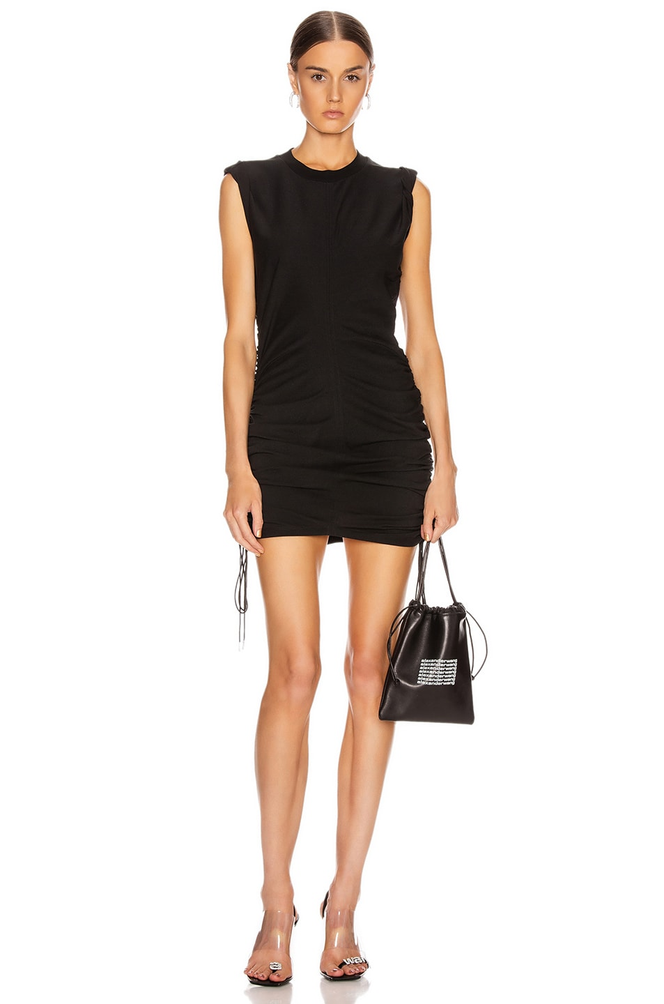 Image 1 of T by Alexander Wang High Twist Dress with Ties in Black