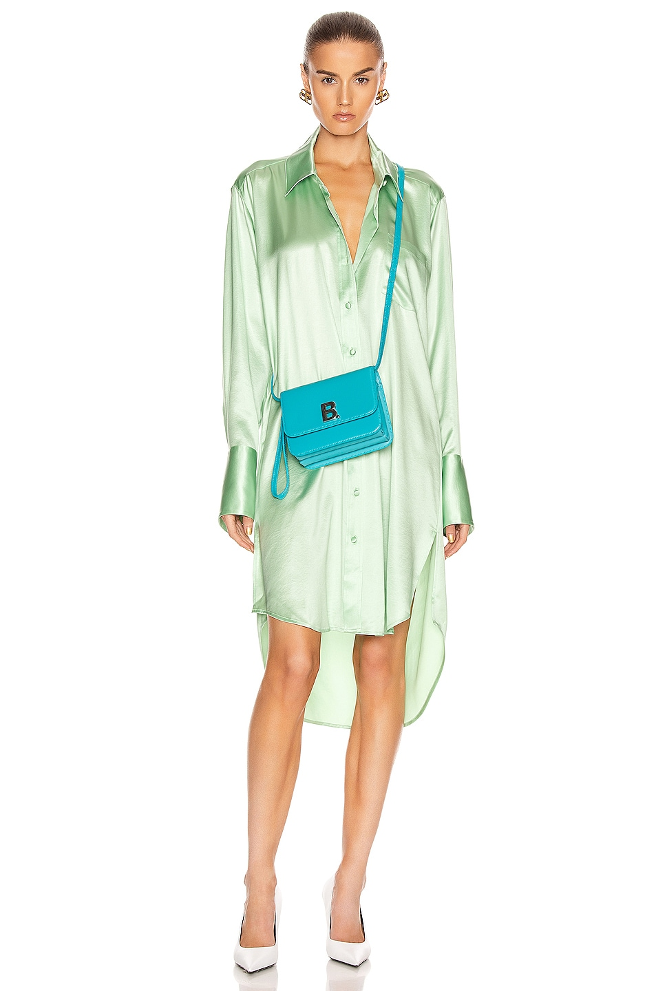 Image 1 of T by Alexander Wang Wet Shine Wash & Go Button Down Dress in Mint