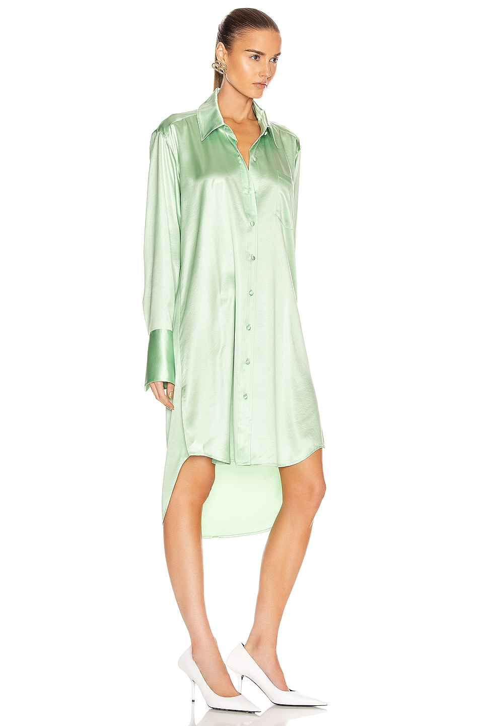Image 2 of T by Alexander Wang Wet Shine Wash & Go Button Down Dress in Mint