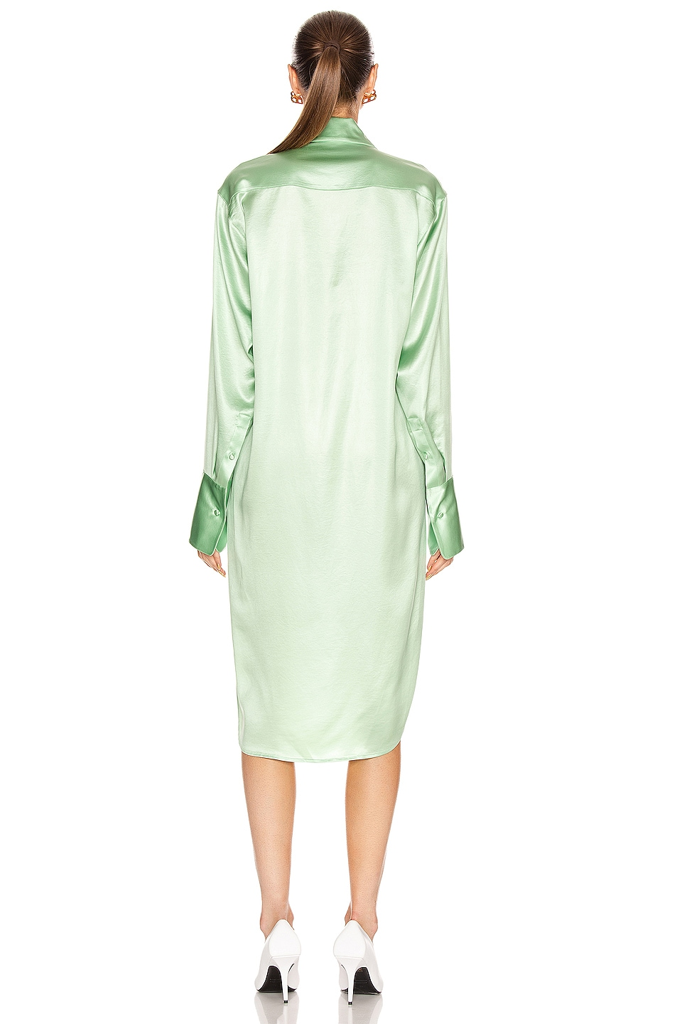 Image 3 of T by Alexander Wang Wet Shine Wash & Go Button Down Dress in Mint