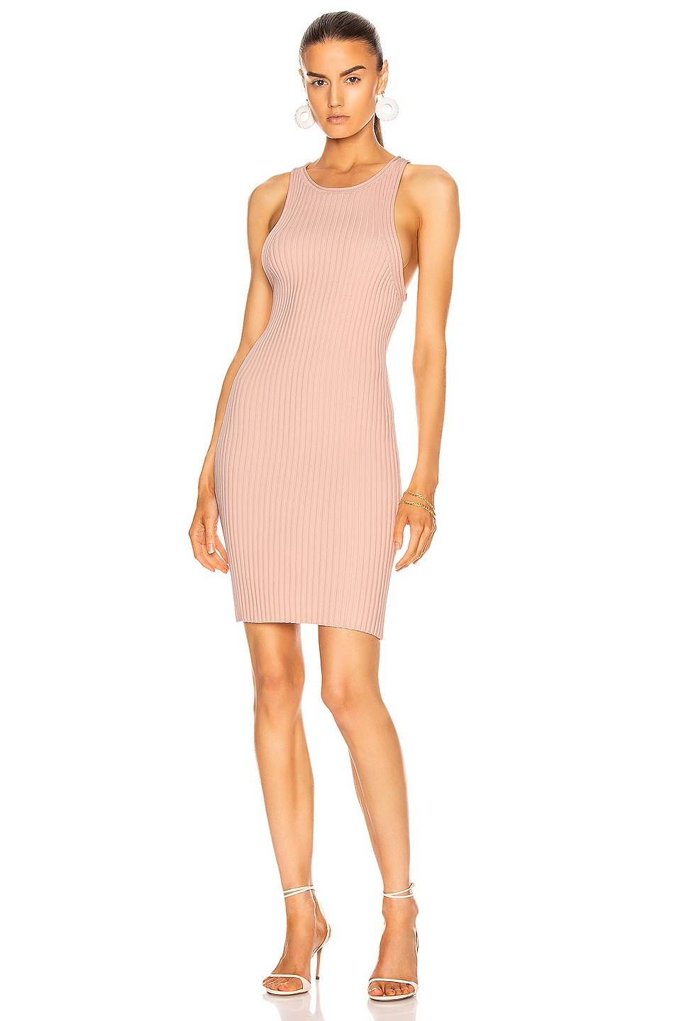 Image 1 of T by Alexander Wang Shrunken Rib Tank Dress in Melon