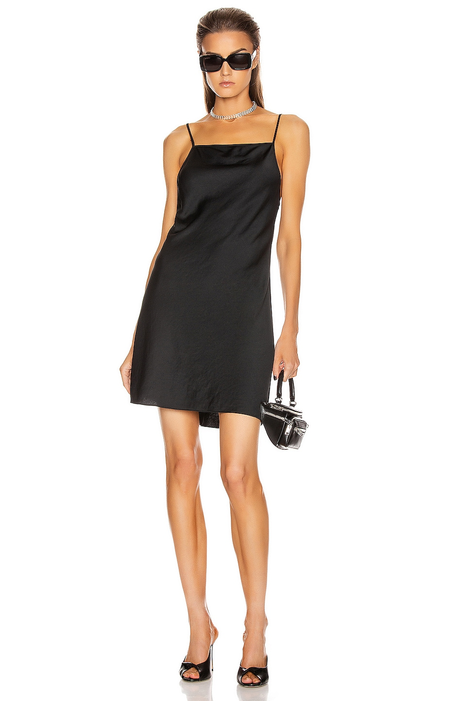 Image 1 of T by Alexander Wang Light Wash & Go Mini Cami Dress in Black