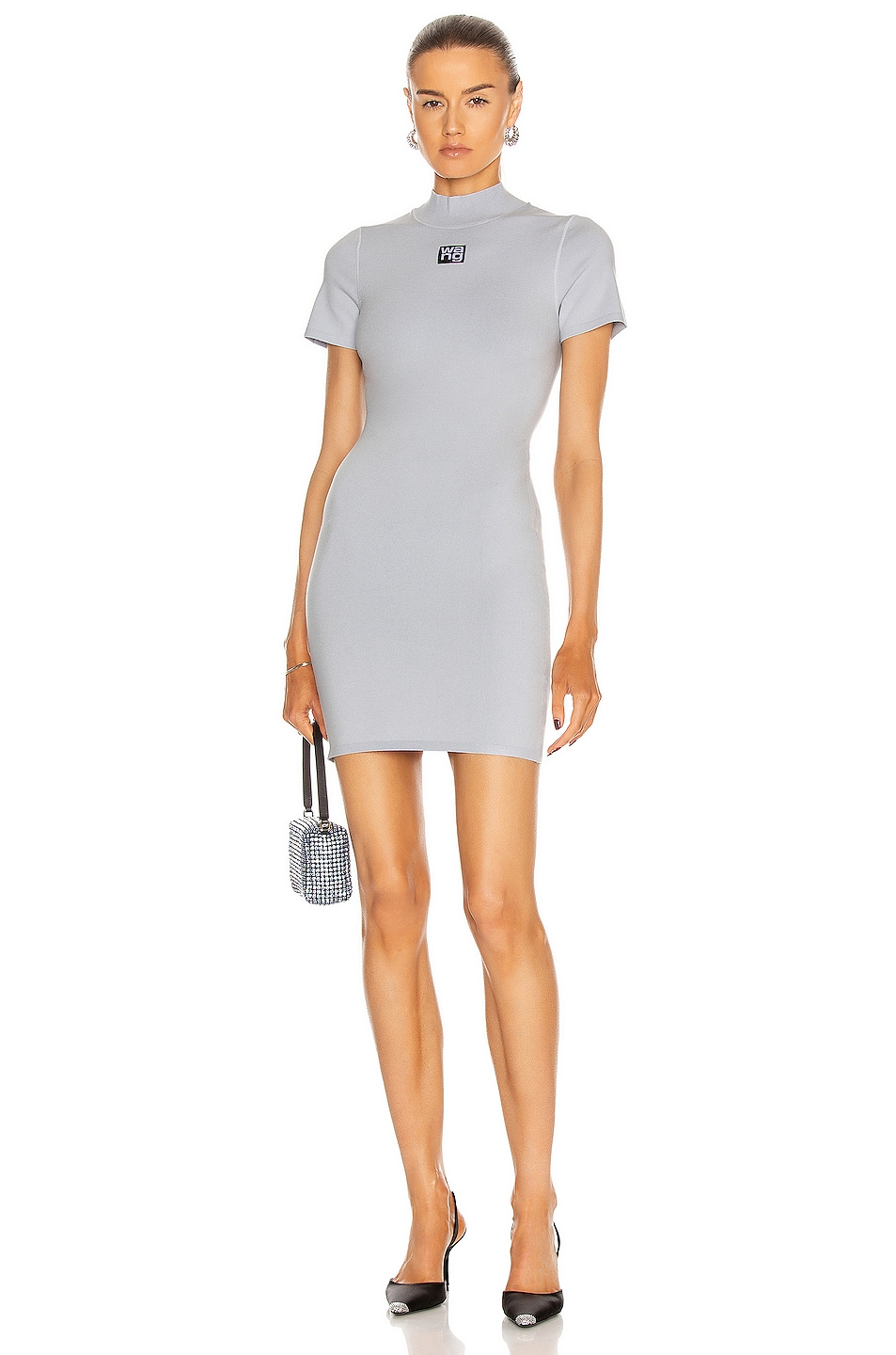 Image 1 of T by Alexander Wang Logo Patch Bodycon Mini Dress in Xenon Blue