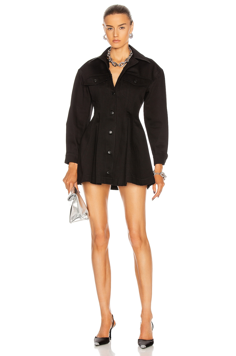 Image 1 of T by Alexander Wang Fit and Flare Jacket Mini Dress in Black