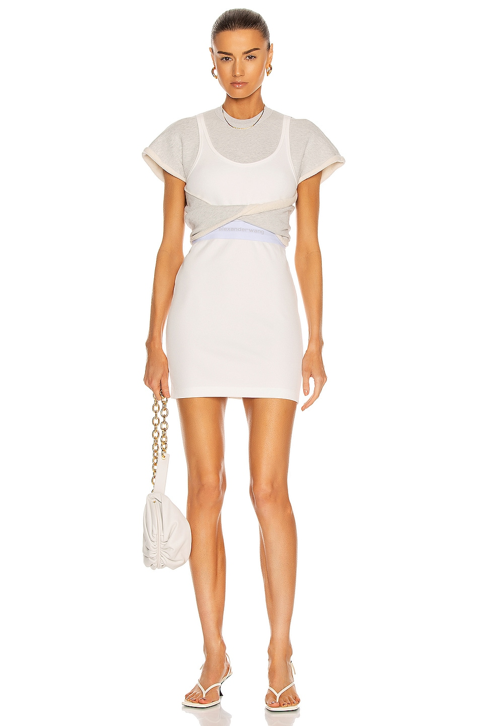 Image 1 of T by Alexander Wang Twisted Hybrid Tank Sweatshirt Dress in Grey & Natural
