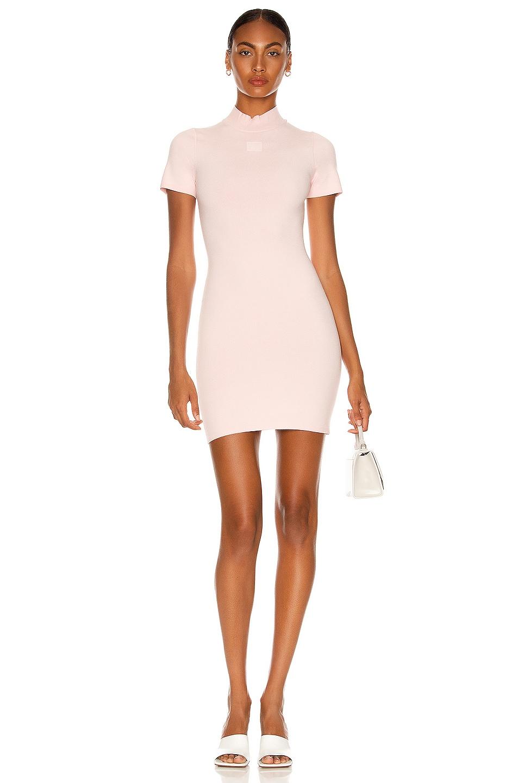 Image 1 of T by Alexander Wang Crewneck Logo Tee Dress in Crystal Rose