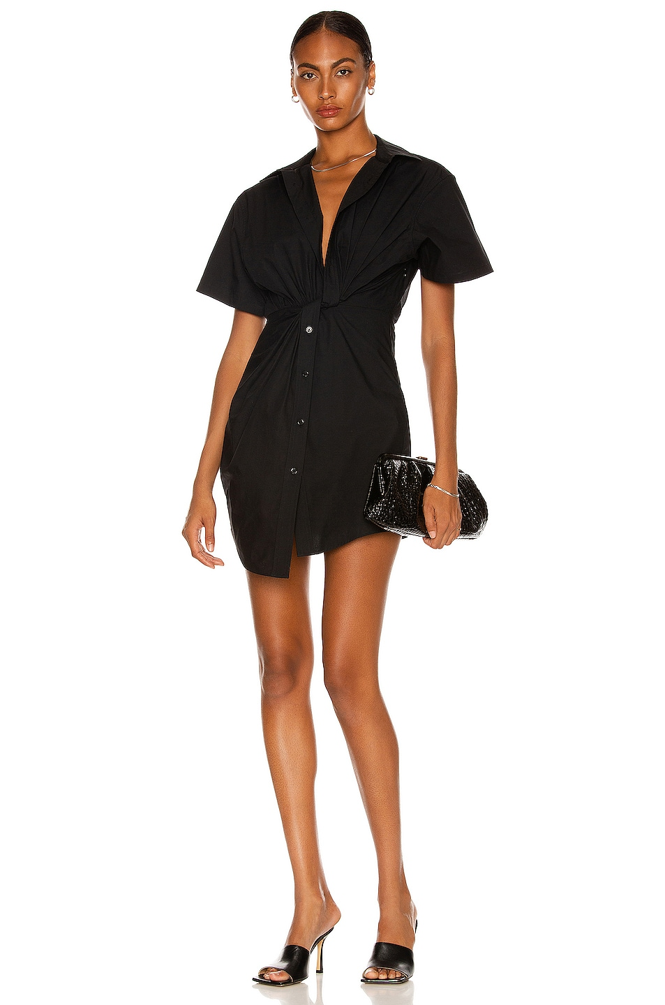 Image 1 of T by Alexander Wang Twist Front Shirt Dress in Black