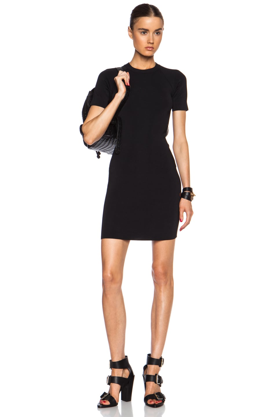 Image 1 of T by Alexander Wang Short Sleeve Rayon-Blend Dress in Black