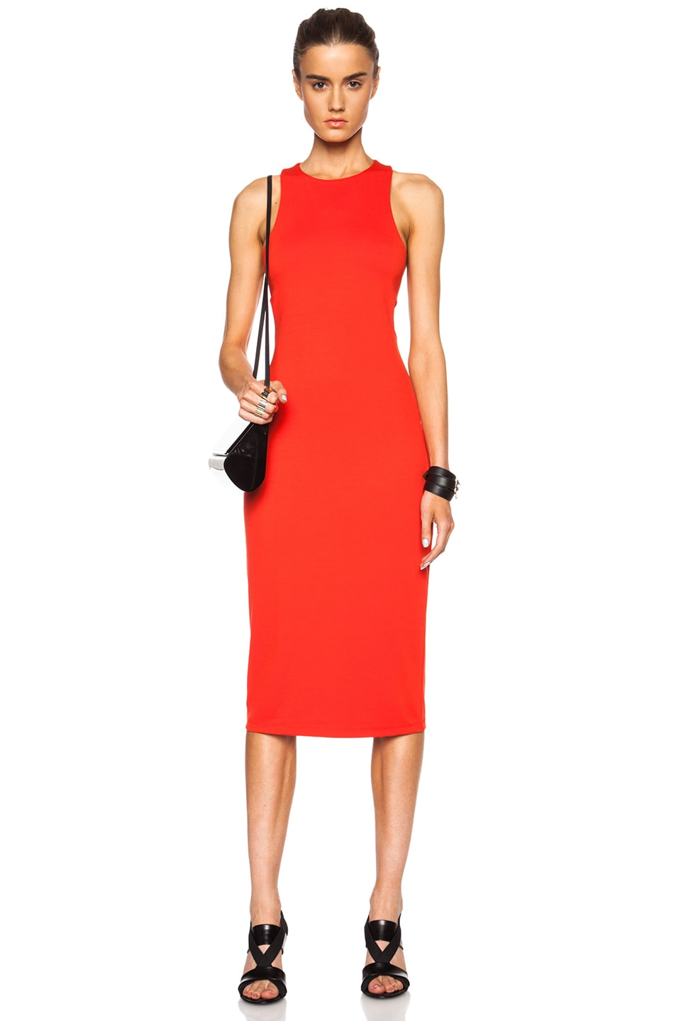 Image 1 of T by Alexander Wang Lux Viscose-Blend Ponte Bandeau Back Dress in Tomato